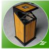 高端定制 户外钢木结构垃圾桶 酒店户外垃圾桶 防腐木单桶垃圾桶