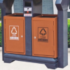镀锌板垃圾箱湖北户外垃圾箱环卫环保垃圾箱双桶垃圾箱定制批发