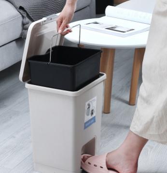 创意家用塑料脚踏垃圾桶 客厅收纳桶 厨房按压带盖清洁垃圾筒