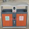 批发弧形分类钢木垃圾桶 户外果皮箱 防腐木钢木垃圾桶