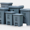 塑料脚踏户外垃圾桶加厚办公室家用垃圾筒带盖脚踩灰色20L垃圾桶