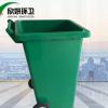 促销大号户外铁质垃圾桶240L带盖带轮街道挂车环卫垃圾桶定制图案