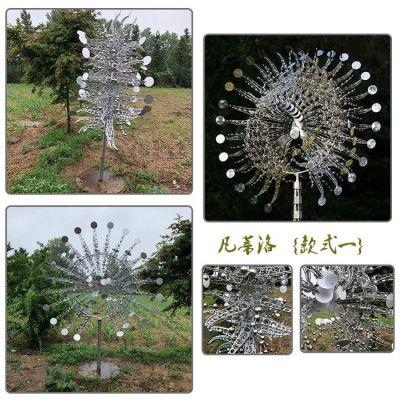 新巨人美陈 大型户外景观风能动态标志 城市广场风动雕塑 不锈钢雕塑太阳花造型